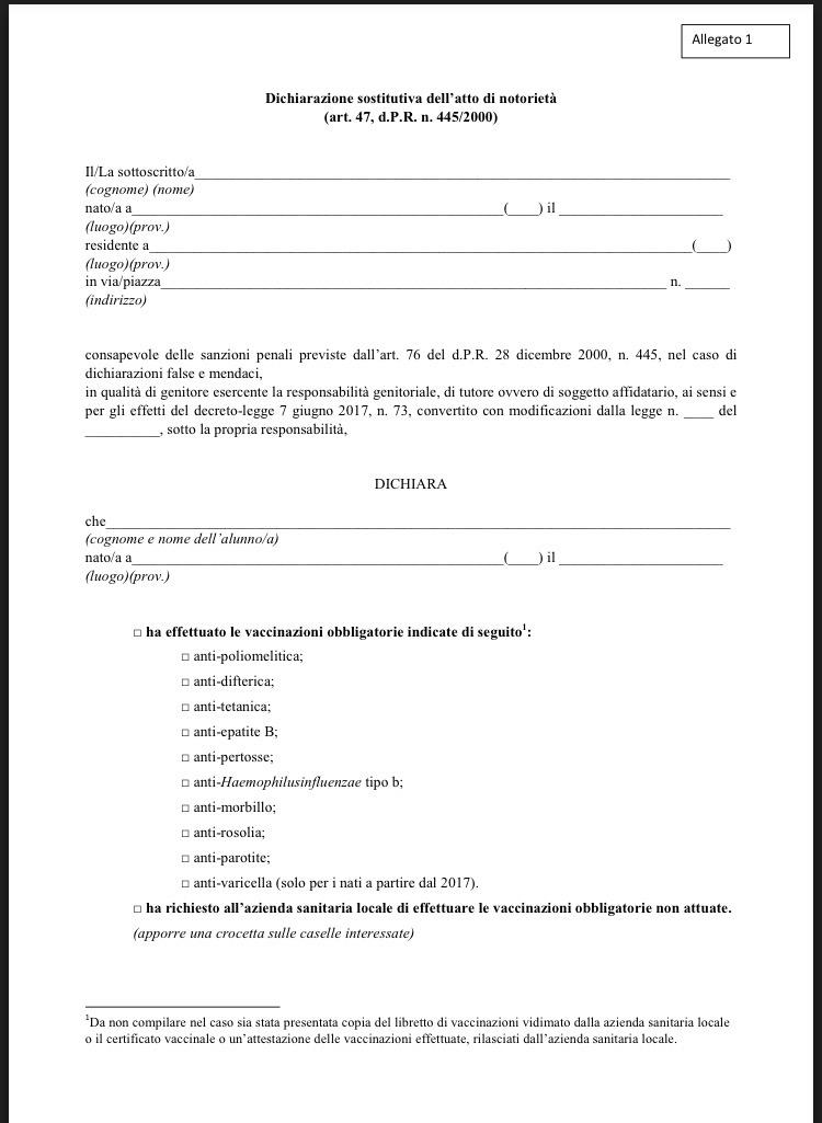 dichiarazione sostitutiva
